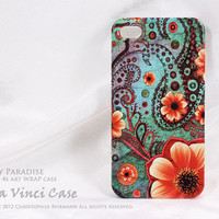 Paisley iPhone 4 case - iPhone 4s case - art WRAP iPhone case - Paisley Paradise- vibrant tropical floral artwork