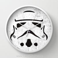 Star Wars Storm Trooper Wall Clock in Natural Wood, Black, or White Frames Pop Art Culture Movie Galaxy Gift for Him Her Decorative Home