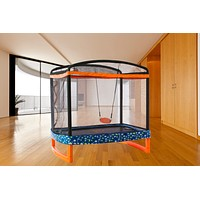 6' Indoor/Outdoor Rectangle Trampoline with Safety Net & Swing Combo-ASTM Safety Approved