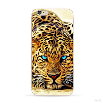 Phone Cases Black white lion For Apple Iphone 6s Case 6 Color cheetah TPU Case Oil painting effect
