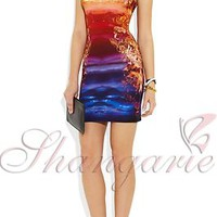 Elegant Tropical Sunset and Ocean Print Bodycon Stretchable Dress
