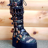 Bully Army Camo Creeper Style Platform Goth Knee Boot Bullet Strap