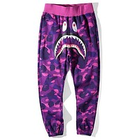 Bape Aape Shark Stylish Women Men Personality Camouflage Print Sport Pants Trousers Purple
