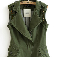 Army Green Lapel Rivets Denim Vest