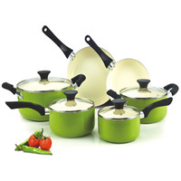 10 Piece Nonstick Scratch Resistant Ceramic Coating Cookware Set In Green