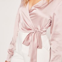 Missguided - Long Sleeve Satin Wrap Front Crop Pink