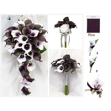 Plum, White, Green, and Silver Calla Lily Wedding Package *Build Your Own*