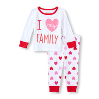 Baby Girl's Long Sleeve 'I Love My Family' Top And Heart Print Pants PJ Set   The Children's Place
