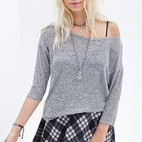 FOREVER 21 Scoop Neck Knit Top Grey