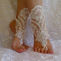 Ivory Barefoot Sandals, french lace, Nude shoes, Foot jewelry,Wedding, Victorian Lace, Sexy, Yoga, Anklet , Belly Dance
