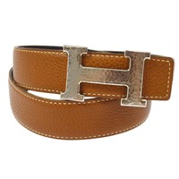 Auth HERMES Vintage H Logos Buckle Constance Reversible Belt Leather RK12294