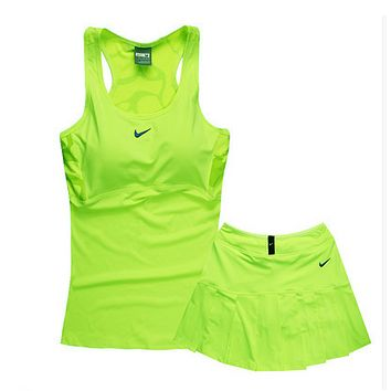 Trendsetter NIKE Gym Sport Yoga Embroidery Top Cami Shorts Set Two-Piece Sportswear