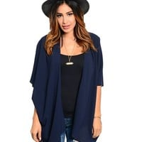 Navy Blue Chiffon Long Duster Kimono Batwing Cardigan Loose Sweater Pullover Private Label medium by Dani Nicholle