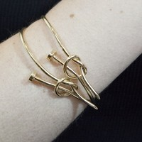 """S.I.N.N """"Hardwear"""" Gold Nail Tied Bangle - Accessories - Just In - SinnStyle.com"""