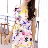 Painted Tree Print Cut Short-Sleeve Dress