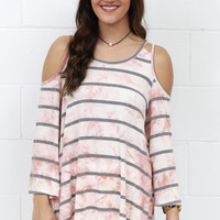 Striped + Washed Out Tie Dye Cold Shoulder {Coral+Grey}