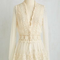 French Mid-length Long Sleeve Delicate Diner Jacket in Eggshell