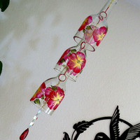 Glass Wind Chime, Recycled wine bottle wind chime, Flowers, Red, Yellow, Sun catcher, yard art, clear glass, House warming gift, Prism