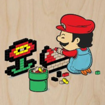 'Power Up' Video Game Italian Plumber Parody - Plywood Wood Print Poster Wall Art