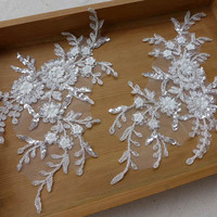 Beaded Applique with Sequined, Silver Thread Bridal Lace Applique Pair for Weddings, Bridal Veils, Headpiece