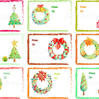 Handpainted watercolour Christmas labels for instant download scrapbook gift tags gift labels digital Collage Sheet