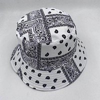 White 100% Cotton Paisley Bucket Hat Vintage Bandana Basin Hat