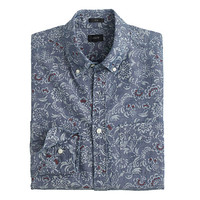 J.Crew Mens Slim Chambray Shirt In Floral Scroll
