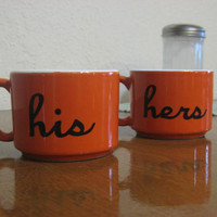Orange His and Hers Hand Painted Coffee Cup