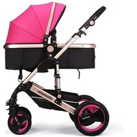 Luxury Newborn Baby Foldable Anti-shock High View Carriage Infant Stroller Pushchair - Pink