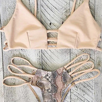 Retro Snake Print Bikini Set Swimsuit