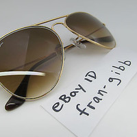 Aviator Ray Ban Sunglasses Gold Frame & Brown Lens RB3025 001/51 55MM Small
