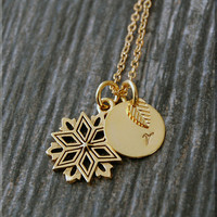 Gold Snowflake Charm Necklace, Initial Charm Necklace, Personalized, Winter Charm, Winter Wonderland Pendant, Snowflake Jewelry