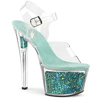 "Sky 308GF Clear Platform Teal Multi Glitter Flake Ankle Strap Shoe 7"" High Heel"