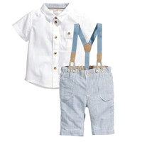 Boys Summer 2 PC White Shirt and Suspender Pants