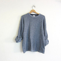 vintage blue speckled sweater. oversized slouchy pullover sweater. men's cotton sweater size L