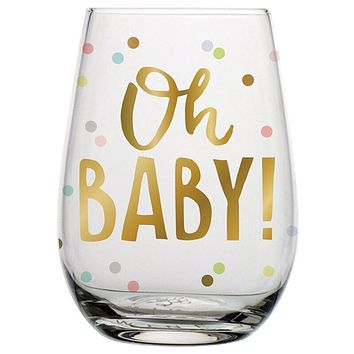 Oh Baby Stemless Wine Glass in Confetti Dots | 20 oz.
