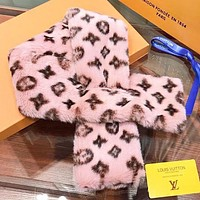 LV Louis Vuitton New fashion monogram print thicken scarf Pink No Box