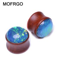Colorful Wood Gem Ear Piercing Gauges Body Jewelry For Men Women Natural Wood Ear Gauge Plugs And Tunnel Ear Stretcher Punk
