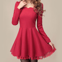 Red Long Sleeve Wool Dress DR1003