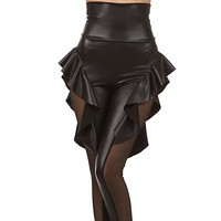 Large size Gothic leather pant Nightclub jumpsuit lady sexy flower costume Gril Punk Catsuit Net lace and Fake Leather leggings