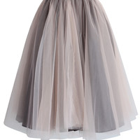 Amore Mesh Tulle Skirt in Taupe Brown Free