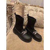GIVENCHY  Trending Women's men Black Leather Side Zip Lace-up Ankle Boots Shoes High Boots