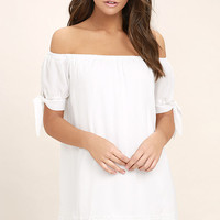 Moment In The Sun White Lace Off-the-Shoulder Dress
