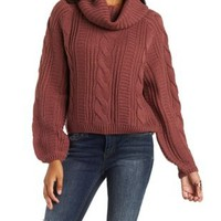 Red Cowl Neck Cable Knit Pullover Sweater by Charlotte Russe