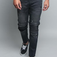 Distressed Scrunched Knee Biker Jeans