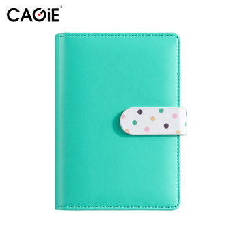 CAGIE Cute Leather Notebook Kawaii Colorful Spiral Planner Agenda School Office Ring Binder Personal Filofax Diary Sketchbook