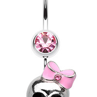 Adorable Skull Hair Bow Belly Button Ring