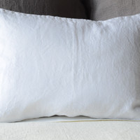 Linen Boudoir Throw Pillow with Knife Edge in WHITE