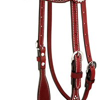 Weaver Leather Western Texas Star Browband Headstall in Chestnut 10-0046-CH