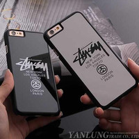 Coque for iPhone 5 5S 6 6S Plus Luxury Brand Logo Stussy New York Paris Case Fundas Capa Caso PC Hard Cover mirror phone cases